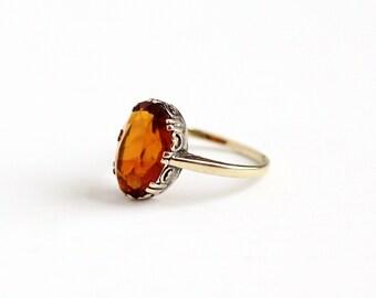 Antique 9k Yellow Gold Citrine Ring - Size 5 Early 1900s Edwardian Orange November Gemstone 9CT Swirling Filigree Fine Jewelry