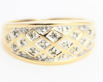 Vintage Ladies Diamond Cluster Ring Engagement Yellow Gold 9ct 9k 9kt 375 | FREE SHIPPING | Size M.5 / 6.5