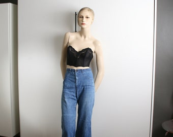 Dittos 1970s flares high waisted blue denim jeans bell bottoms