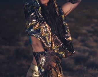 Sequin Warrior Cuffs- Burning Man EDC Festival Halloween Costume