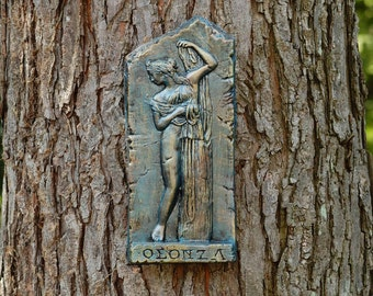 Venus Sculpture Garden Wall Plaque, Ancient Greek Roman Statue, Antique Wall Decor, Female Figure Callipigia Venus Stone Art