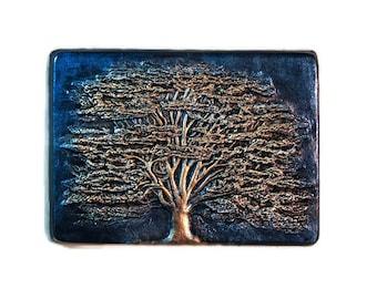 Cedar of Lebanon Art Wall Plaque, Evergreen Tree Garden Decor, Tree Wall Art Garden Sculpture, Blue Tree Art, Garden Stone