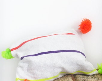 Moroccan POM POM Pillow cover - Cotton white and neon stripes