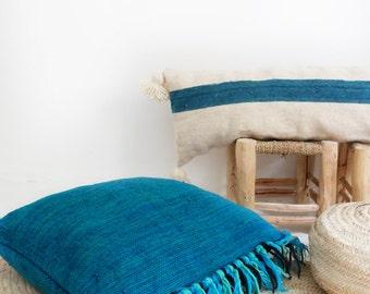 Vintage Large Wool Floor Cushion - Fringed