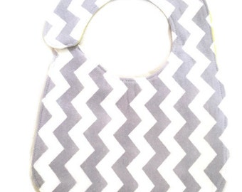 Gray white yellow  chevron Flannel bib