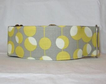 SALE Mod Gray Martingale Dog Collar - 1.5 or 2 Inch - cream yellow grey orbs modern retro stylish