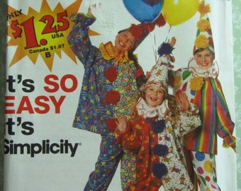 Easy to Sew Children's Clown Costume Pattern Sizes 2-4, 6-8, 10-12 Vintage 1990's Simplicity Pattern 7393 UNCUT