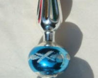 Hand Blown Tree Topper Indented Made in Poland Original Box Christmas Hand Decorated Glass Tree Topper
