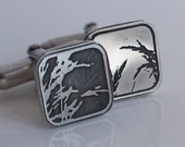 Meadow Grass Cufflinks - Etched Sterling Silver