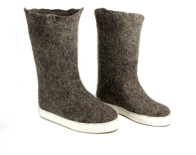 Felt Boots, Organic Wool Boots, Wool Valenki Boots Winter Boots, Rubber Soles Felted Wool Boots, Eco Wool Boots Ugg Boots, Womens Fall Boots