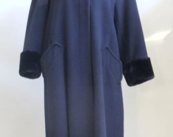"Vintage STEVE 2 Black Coat Mid Calf with Faux Fur Cuffs and Collar Bust 44"" Waist 48"""