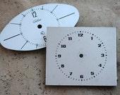Vintage Soviet Alarm Clock Faces -- metal -- set of 2