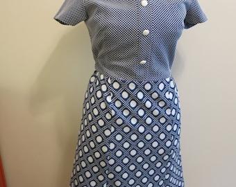 Dress MOD polka dot graphic blue white stretch knit XL
