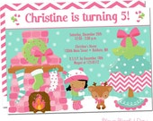Pink Winter Birthday Girl Party Invitation | Pink Holiday Girl Party Invitations | Christmas Girl Party Invitations #408