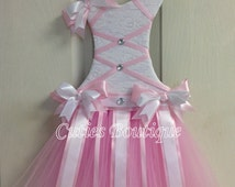 Tutu Dress Hair Bow Holder Baby Pink Perfect Gift For Birthday Baby Shower It's a Girl