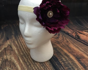 Plum purple and ivory girls headband, first birthday headband, girls headband, plum wedding