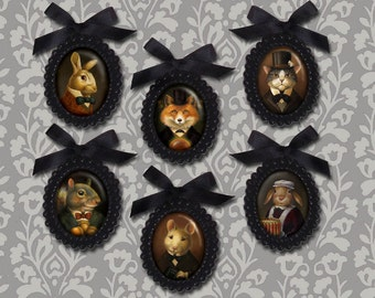 Victorian Brooch, Gothic Brooch, Victorian Animal Pin. Steampunk, Animal Portrait, Black Beaded, Mourning, Fox, Rabbit, Mouse, Squirrel, Cat