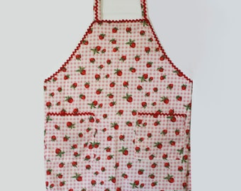 Strawberry Gingham Apron and Scarf - Handmade