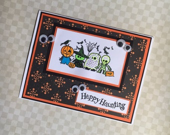 Happy Halloween Greeting Card - Pumpkin Witch Ghost and Skelaton Handmade Paper Card for Kids or Adults