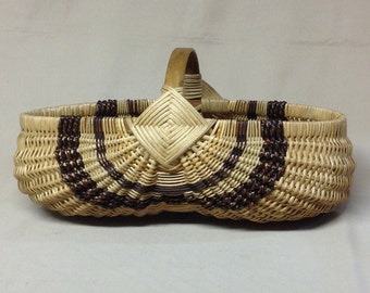 Smaller Oval Hand Woven Egg Basket with Brown Accent Weaving