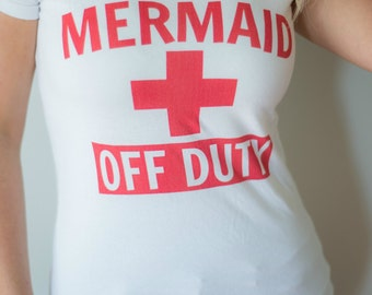 SALE!! Mermaid Off Duty Graphic T-shirt v-neck 4th of July Sale