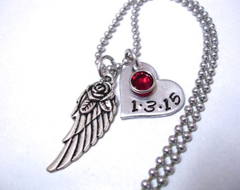 Memorial Jewelry, Personalized Jewelry, Memorial Necklace, Hand Stamped Jewelry, Angel Wing Necklace, Infant Loss, Miscarriage