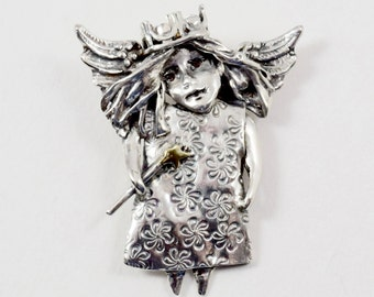 Silver Fantasy Jewelry, Sterling Angel Necklace, Magic Wand Jewelry, Fairy Angel Pendant, Robin Wade Jewelry, Lilly Frolics In Light, 2294