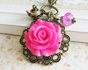 Pink flower charm necklace, bronze vintage style jewelry, gifts under 20, for her, romantic jewelry, Europe