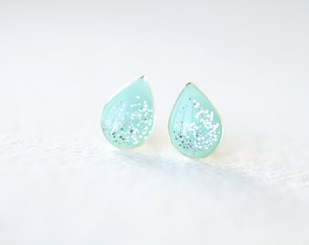 Mint Teardrop Shape Shimmering Silver Plated Brass Stud Earrings