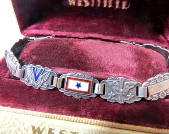 Vintage WWII Forget Me Not Sterling Silver Bracelet with Enamel Star Bar, V for Victory & U. S. Army Air Corp Links