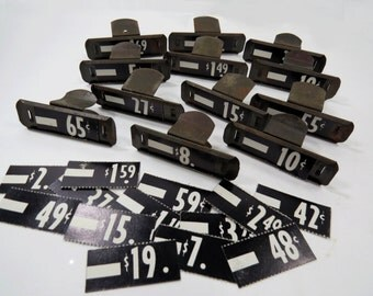 12 Metal Store Price Display Clips PLUS 24 Price Tags - Vintage Mercantile Shop Price Clips