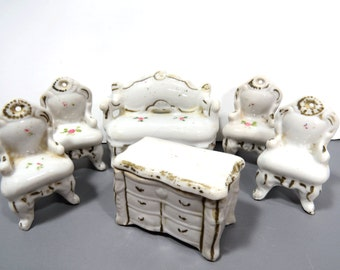 Porcelain Dollhouse Furniture Set - 6 Vintage Pieces - Couch, 4 Chairs, Dresser