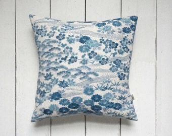 Decorative Blue and White Vintage Kimono Silk Fabric Floral Cushion Pillow 'Blossoms and Stream'