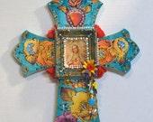 Wooden Crucifix, Religious Cross, Virgen de Guadalupe, Mexican Art, Mixed Media