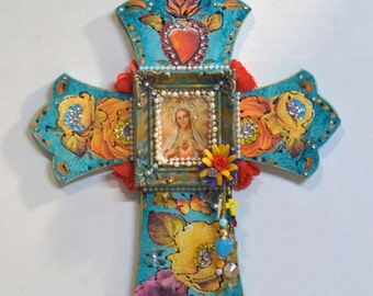 Wooden Crucifix, Religious Cross, Virgen de Guadalupe, Mexican Art, Mixed Media