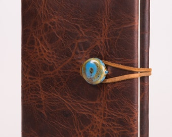 "Refillable 4"" x 6"" Handmade Leather Journal with Blank Cover (JS-36)"