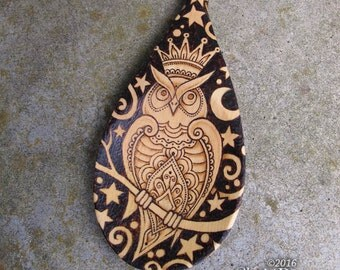 Owl Spoon - pyrography wooden spoon home decor