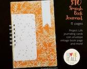 Smash Book Listing Challenge Scrapbook Mini Album . Mixed Media Notebook Junk Junque Art Journal Album . Recycled Ephemera Book Pages Tags