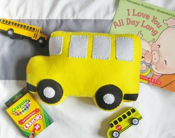 Felt School Bus Pillow / Yellow Bus Shaped Plush Toy / Kids Transportation Themed Room / Boy's Room Decor / Back to School Classroom Gift