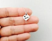Mothers gift, gift for mom, mothers day, mother of bride, mother of groom, mom, silver necklace, mom charm pendant, heart necklace, mom gift