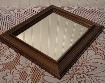 Vintage Vanity Mirror - Framed Wood Perfume Mirror - Hanging Framed Mirror  -  16-590