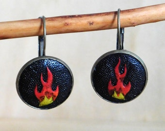 Tooled Leather Flame Earrings - Ready-To-Ship!