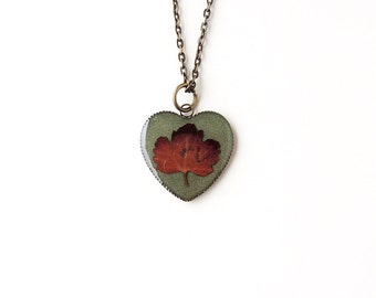 Maple Leaf Necklace, Acer Japanese Maple Leaf Heart Pendant, Botanical Jewelry, Resin Jewelry, Leaf Jewelry, Autumn Fall, UK, 2213
