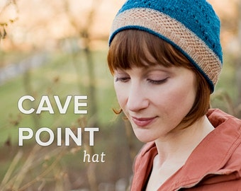 KNITTING PATTERN PDF file for lace weight hat-Cave Point