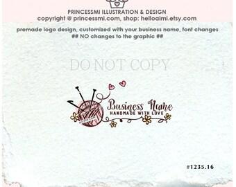 1235-16 Yarn Logo Design, Crochet logo, business card, banner / custom logo design / Ball of YARN logo design by princessmi logo