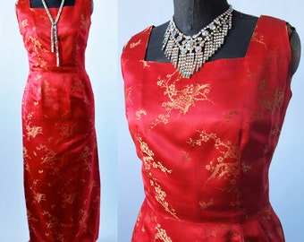 60's Dress Red Formal Length Wiggle Red and Gold Silk Brocade Dress Square Neckline