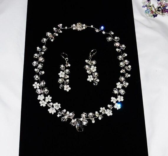 GENUINE White, Clear, Wedding, Swarovski Crystals, Pearls, Flower Motif Necklace, leverback Earrings