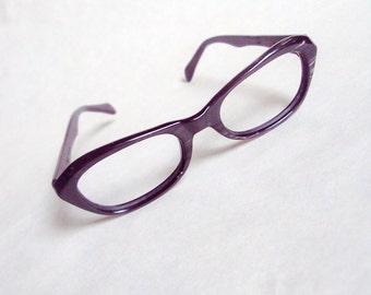 1960s Marbled graphite & black spectacle frames / 60s eyeglasses