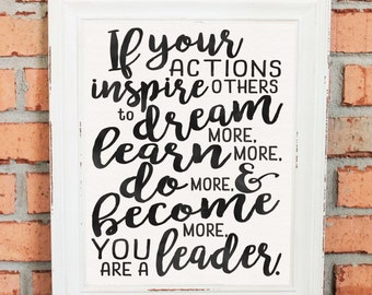 Inspirational Quotes - Wall Art - Gift - If Your Actions Inspire People... - Gift for Boss - Black and White Watercolors - Hand Drawn Art