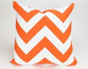 Tangelo Orange Zippy Chevron Throw Pillow Cover - 22 inch